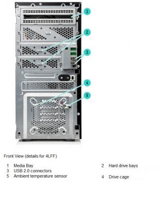 HPE ProLiant ML10 Gen9 front schema