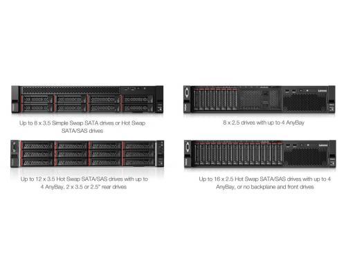 Сервер Lenovo SR590 2U варианты передних панелей